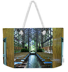 Weekender Tote Bag featuring the photograph Thorncrown Chapel Entrance by Cricket Hackmann