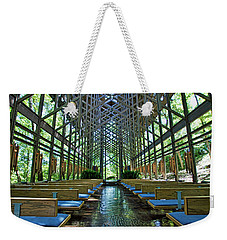 Weekender Tote Bag featuring the photograph Thorncrown Chapel Interior by Cricket Hackmann