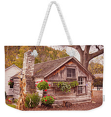Weekender Tote Bag featuring the photograph Thorp Cabin Door County Wisconsin by Heidi Hermes