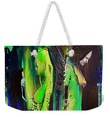 Weekender Tote Bag featuring the painting Thoughtful Gathering by Kicking Bear Productions
