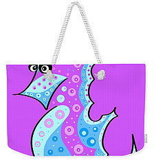 Weekender Tote Bag featuring the painting Thoughts And Colors Series Seahorse by Veronica Minozzi