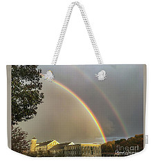 Weekender Tote Bag featuring the photograph Thread City Double Rainbow  by Michael Hughes