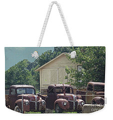 Weekender Tote Bag featuring the photograph Three 1940 Ford Pickups by Janette Boyd