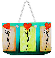 Three Abstract Figures With Hearts Weekender Tote Bag by Bob Baker