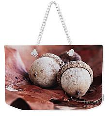 Three Acorns And Autumn Oak Leaves Weekender Tote Bag