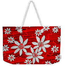 Three And Twenty Flowers On Red Weekender Tote Bag