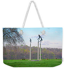 Weekender Tote Bag featuring the photograph Three Angels In Spring - Kelly Drive Philadelphia by Bill Cannon