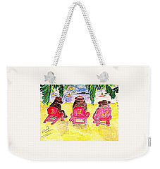 Watercolor Three Bears Visiting Hawaii Weekender Tote Bag