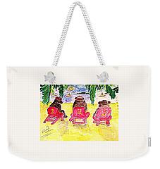 Watercolor Three Bears Visiting Hawaii Weekender Tote Bag