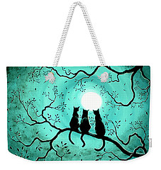 Three Black Cats Under A Full Moon Weekender Tote Bag by Laura Iverson