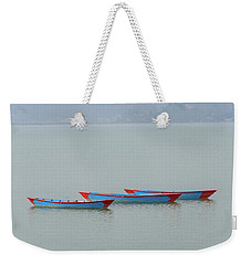 Three Blue Boats On Phewa Lake In Pokhara Weekender Tote Bag
