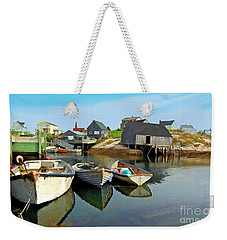 Three Boats At Peggys Cove Weekender Tote Bag by Kevin J McGraw