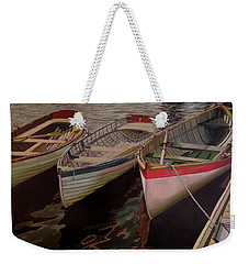 Weekender Tote Bag featuring the painting Three Boats by Thu Nguyen