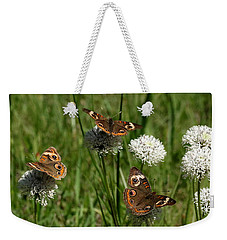 Three Buckeye Butterflies On Wildflowers Weekender Tote Bag