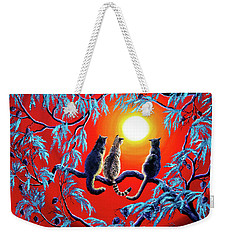 Three Cats In A Bright Red Sunset Weekender Tote Bag