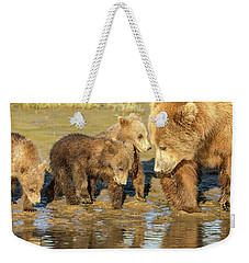Three Cubs And Mother Drinking At The River Weekender Tote Bag