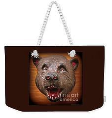 Weekender Tote Bag featuring the photograph Three  Dimensional 1953 Folk Art Bear Head by Peter Gumaer Ogden
