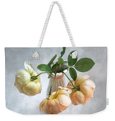 Weekender Tote Bag featuring the photograph Three English Roses by Louise Kumpf