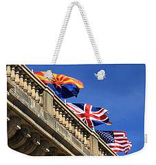 Three Flags At London Bridge Weekender Tote Bag by James Eddy