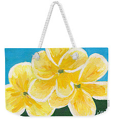 Three Flowers On Blue Weekender Tote Bag