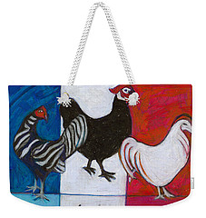 Weekender Tote Bag featuring the painting Three French Hens by Denise Weaver Ross