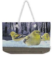 Three Goldfinches In Winter Weekender Tote Bag