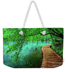 Tree Hanging Over Turquoise Lakes, Plitvice Lakes National Park, Croatia Weekender Tote Bag