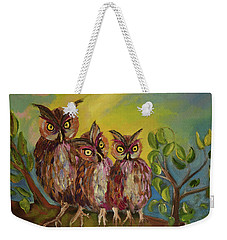 Weekender Tote Bag featuring the painting Three Hoots -hooters - Owls  by Jan Dappen