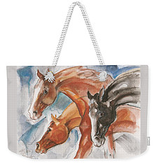 Three Horses Weekender Tote Bag by Mary Armstrong