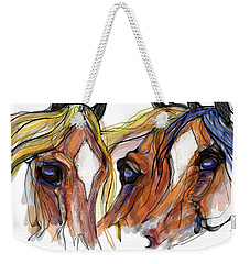 Three Horses Talking Weekender Tote Bag
