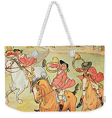Three Jovial Huntsmen Weekender Tote Bag by Randolph Caldecott