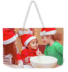 Three Kids Making Christmas Cookies Weekender Tote Bag
