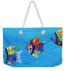 Weekender Tote Bag featuring the painting Three Little Fishy's by Jamie Frier