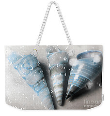 Three Little Trumpet Snail Shells Over Gray Weekender Tote Bag