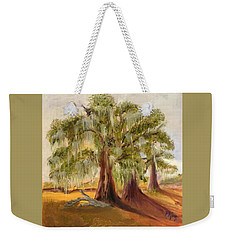 Three Live Oaks With Spanish Moss In A Florida Cow Pasture Weekender Tote Bag
