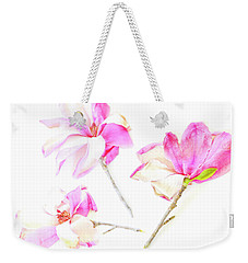 Weekender Tote Bag featuring the photograph Three Magnolia Flowers by Linde Townsend