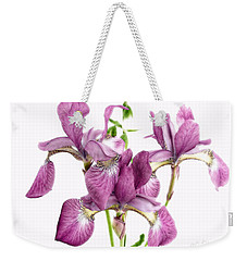 Three Mauve Japanese Irises Weekender Tote Bag