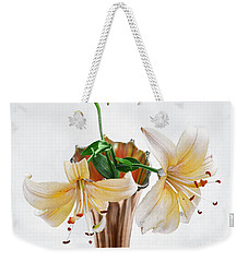 Three Pale Gold Lilies Still Life Weekender Tote Bag