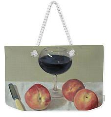 Three Peaches, Wine And Knife Weekender Tote Bag