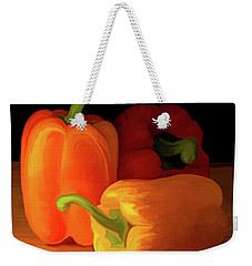 Three Peppers 01 Weekender Tote Bag by Wally Hampton