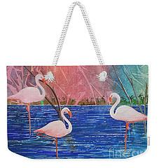 Three Pink Flamingos Weekender Tote Bag by Jackie Mueller-Jones