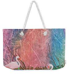 Weekender Tote Bag featuring the painting Three Pink Flamingos by Jackie Mueller-Jones