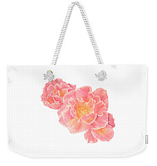 Three Pink Roses Weekender Tote Bag by Elizabeth Lock
