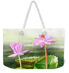 Three Pink Water Lilies With Pads Weekender Tote Bag