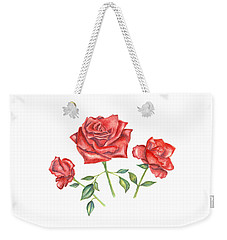Weekender Tote Bag featuring the mixed media Three Red Roses by Elizabeth Lock