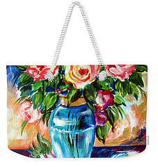 Weekender Tote Bag featuring the painting Three Roses In A Glass Vase by Roberto Gagliardi