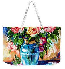 Three Roses In A Glass Vase Weekender Tote Bag