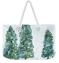 Three Snowy Spruce Trees Weekender Tote Bag