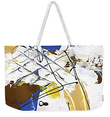 Weekender Tote Bag featuring the painting Three Color Palette Blue 3 by Michal Mitak Mahgerefteh