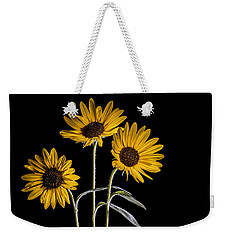 Three Sunflowers Light Painted On Black Weekender Tote Bag by Vishwanath Bhat